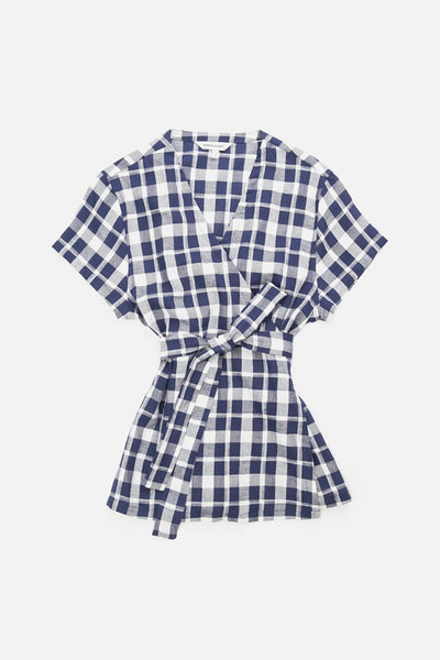 Navy plaid short sleeve wrap top