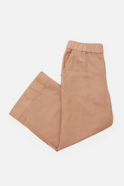 Bronze Mid-Rise trouser style pant with a wide elastic waist, relaxed silhouette, and ankle grazing length