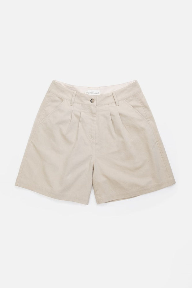 Khaki canvas high waisted trouser style shorts with front pleats