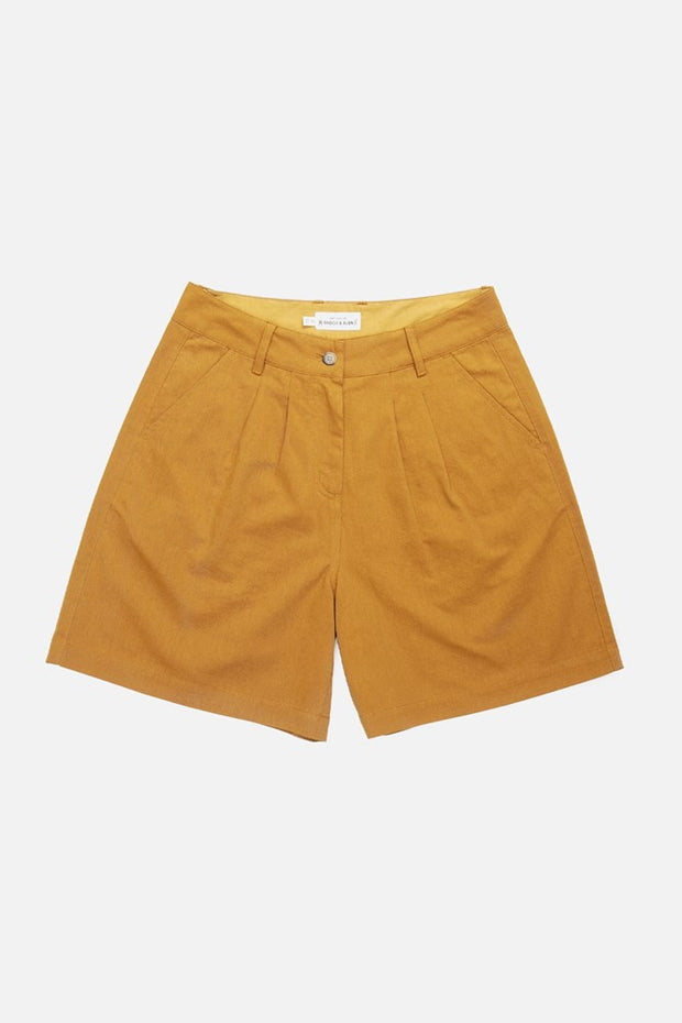 Gold canvas high waisted trouser style shorts with front pleats