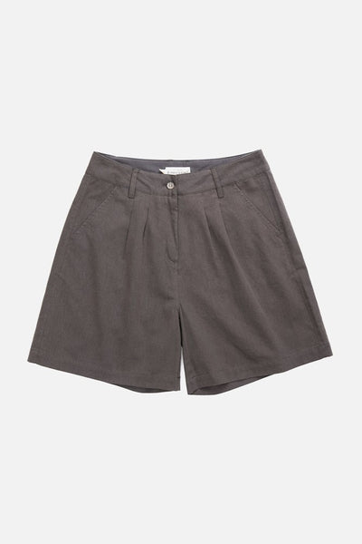 Grey high waisted trouser style shorts with front pleats