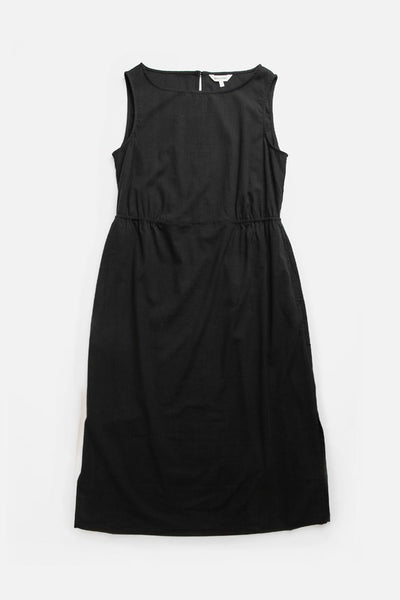 Black Mid-length dress with boat neck, gathered waist, and on-seam pockets