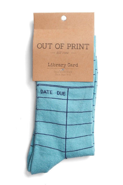 Out of Print Library Card Socks Blue