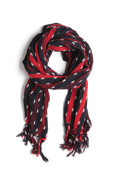 Kiriko Karu-Ori Red Navy Dash Stripe Scarf