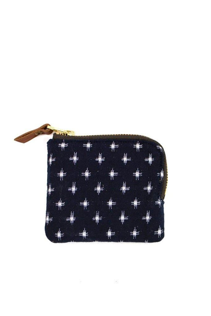 Kiriko Zipper Wallet Navy Kasuri