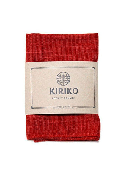 Kiriko Red Linen Pocket Square