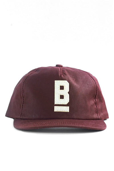 97d266949b5e3 B Flat Cap Burgundy Waxed Canvas