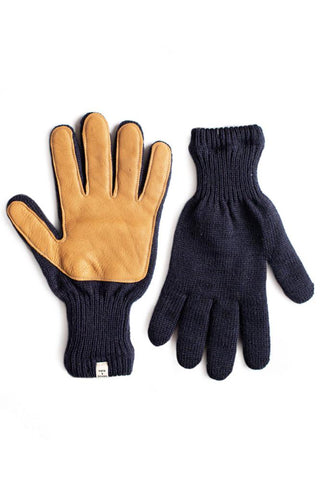 Men's Lined Ragg Wool Glove Navy Tan