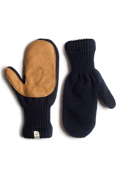 Women's Lined Ragg Wool Mitten Navy Tan