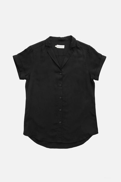 Black short sleeve relaxed button-up with spread collar and short cuffed sleeves