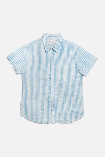 Corridor Watercolor Stripe Blue Short Sleeve Shirt