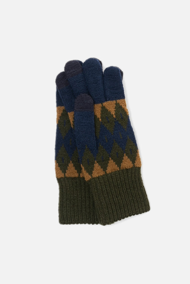 EvolG Argyle Gloves Navy Khaki