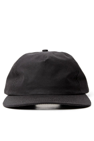 Pinch Front Cap Black Waxed Canvas