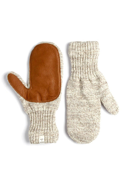 Women's Lined Ragg Wool Mitten Oatmeal Chestnut