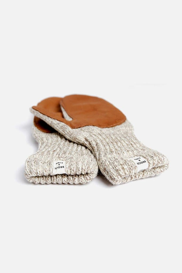 Bridge & Burn Women's Lined Ragg Wool Mitten Oatmeal Tan