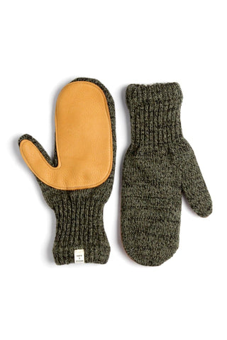 Women's Lined Ragg Wool Mitten Moss Saddle