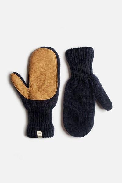 Bridge & Burn Women's Lined Ragg Wool Mitten Navy Tan