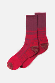Bridge & Burn Men's Cotton Colorblock Marl Sock Red Combo