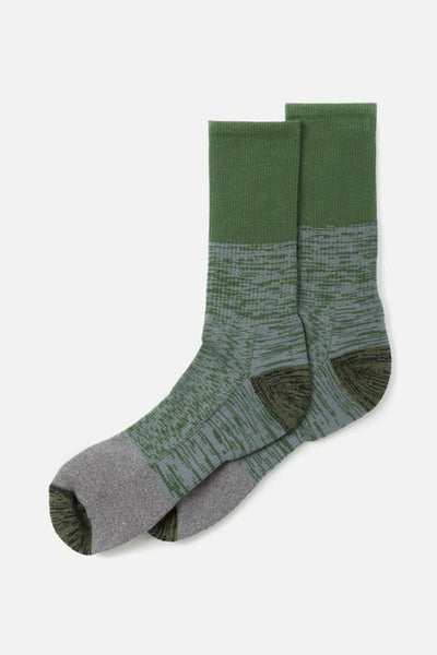 Bridge & Burn Men's Cotton Colorblock Marl Sock Olive Combo