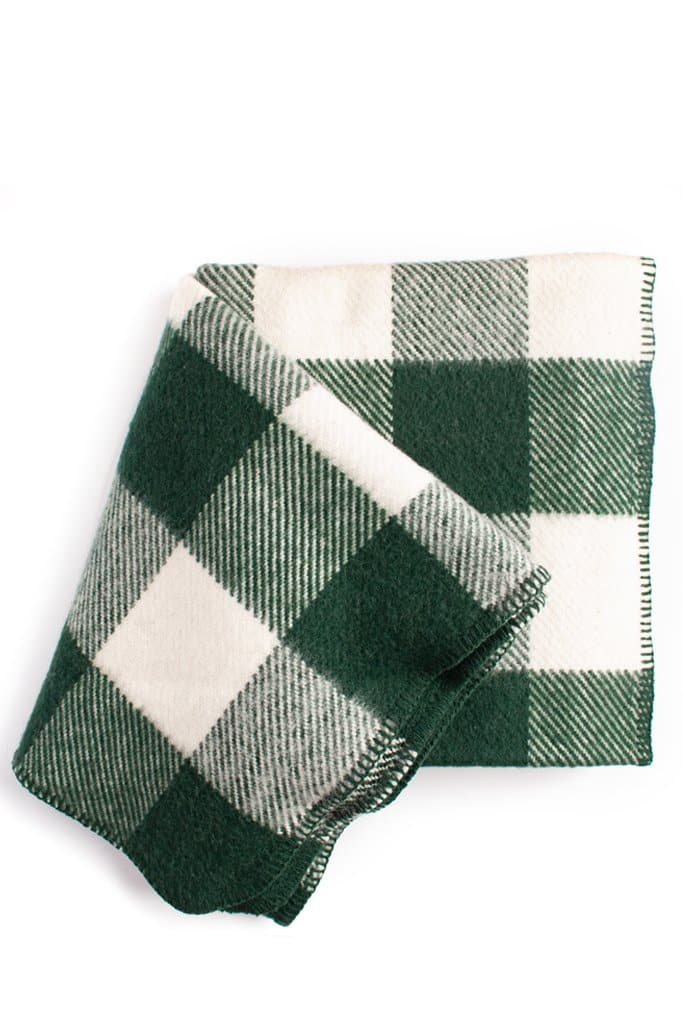 Imperial Yarn Buck Hollow Buffalo Plaid Throw Hunter Green/Natural