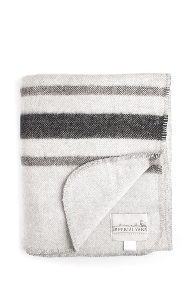 Imperial Yarn Heritage Stripe Throw Pearl Gray/Charcoal/Black Stripes