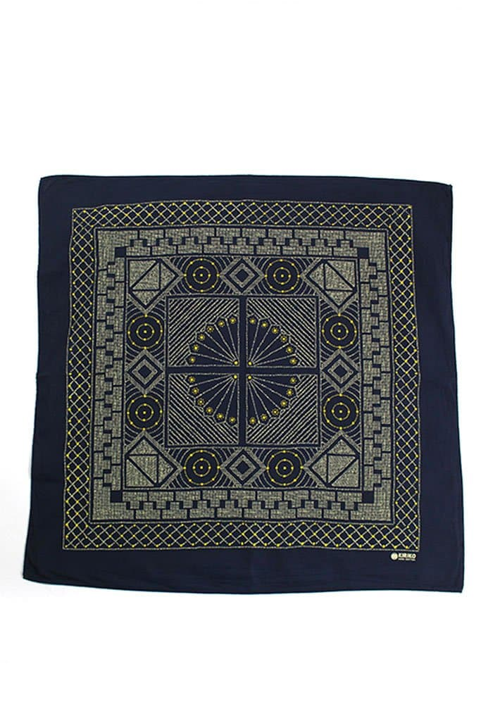 Kiriko Custom-Dyed Bandana Katazome Indigo with Cream and Yellow Print