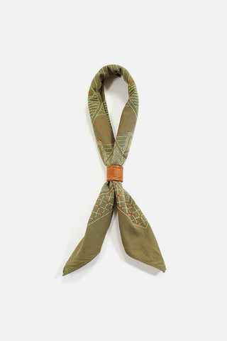 Kiriko Custom-Dyed Bandana Katazome Green with Cream and Orange Print
