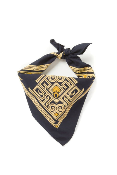 Kiriko Custom-Dyed Bandana Kon-Iro Two-Tone Ainu with Cream and Gold