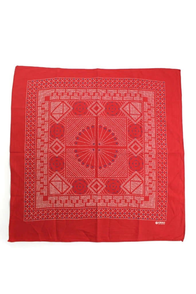 Kiriko Custom-Dyed Bandana Katazome Red with Cream and Indigo Print
