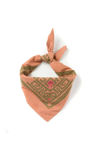 Kiriko Custom-Dyed Bandana Taisha-Iro Two-Tone Ainu with Red and Green