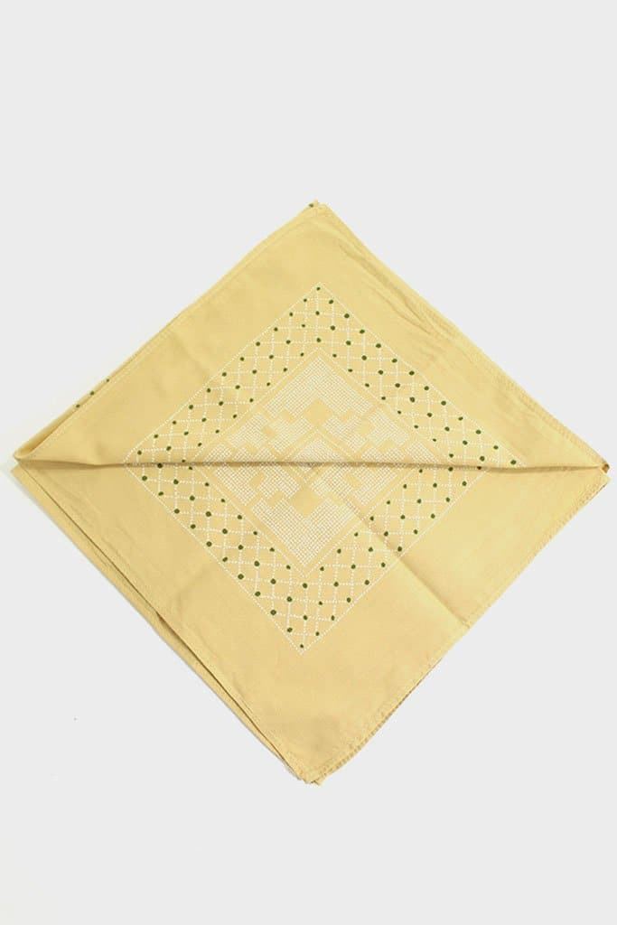 Kiriko Custom-Dyed Bandana Katazome Yellow with Cream and Green Print