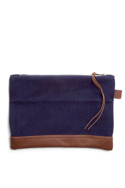 Kiriko Sashiko Indigo Clutch with Leather Details