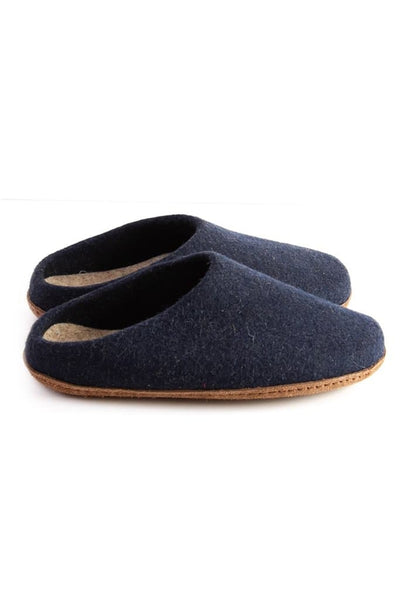 Kyrgies Low Back Slippers Navy Oatmeal