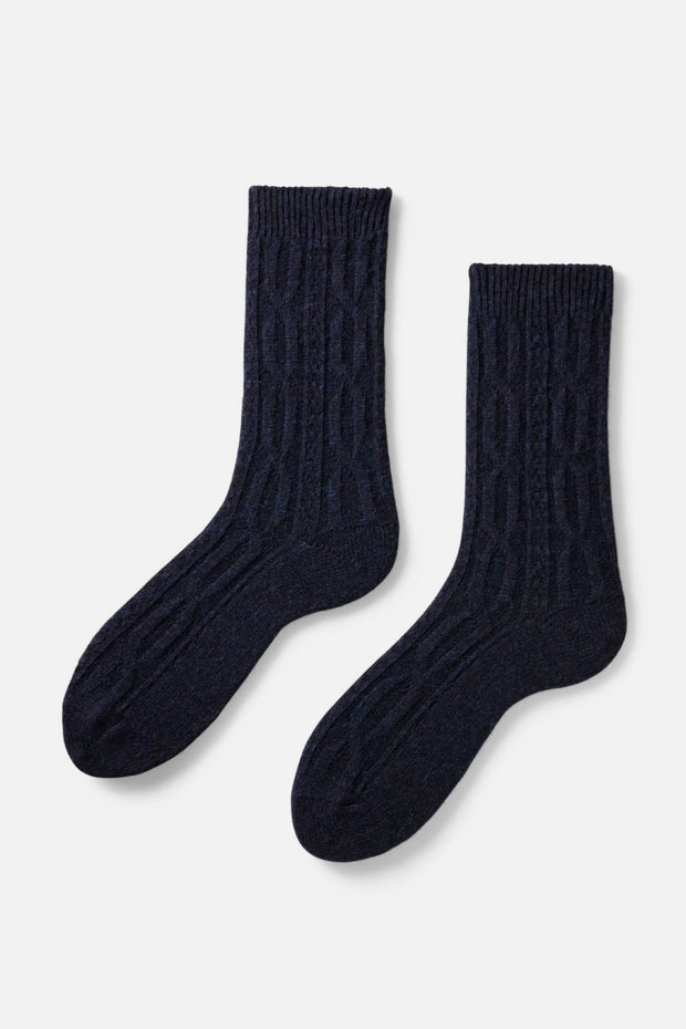 Lisa B Cable Crew Socks Navy