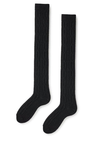 Lisa B Women's Over The Knee Cable Socks Black