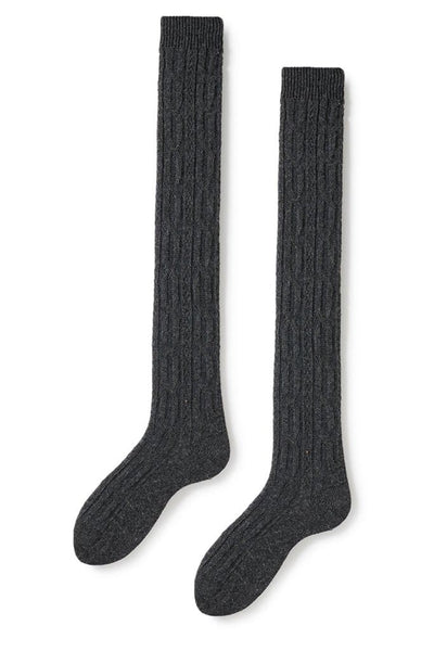 Lisa B Women's Over The Knee Cable Socks Charcoal