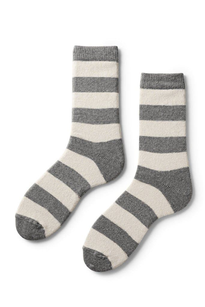 Lisa B Women's Rugby Stripe Socks Charcoal