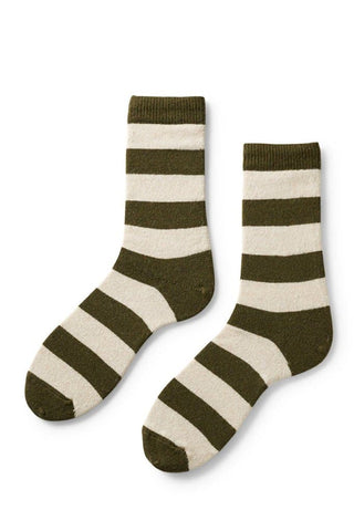 Lisa B Women's Rugby Stripe Socks Olive