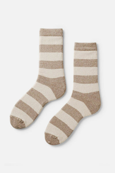 Lisa B Women's Rugby Stripe Socks Mushroom