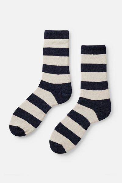 Lisa B Women's Rugby Stripe Socks Navy