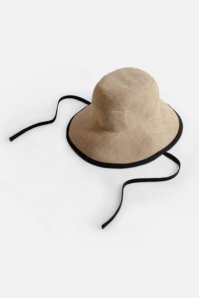 Tsuyumi Jute Wide Brim Hat with Tie Natural Black
