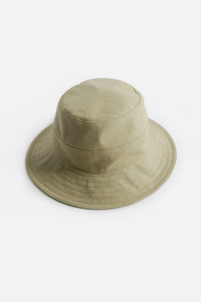 Tsuyumi Cotton Canvas Mid Brim Bucket Hat Khaki