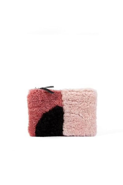 Primecut Patchwork Zipper Wallet Pink Sheepskin
