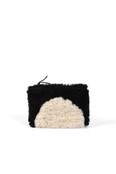 Primecut Patchwork Zipper Wallet Black Tan Sheepskin