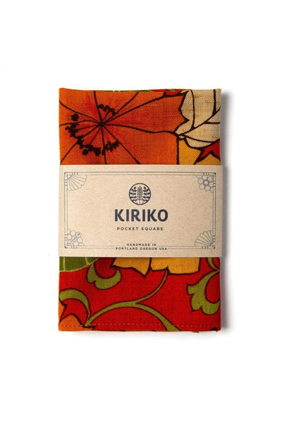Kiriko Pocket Square Orange Yellow Floral