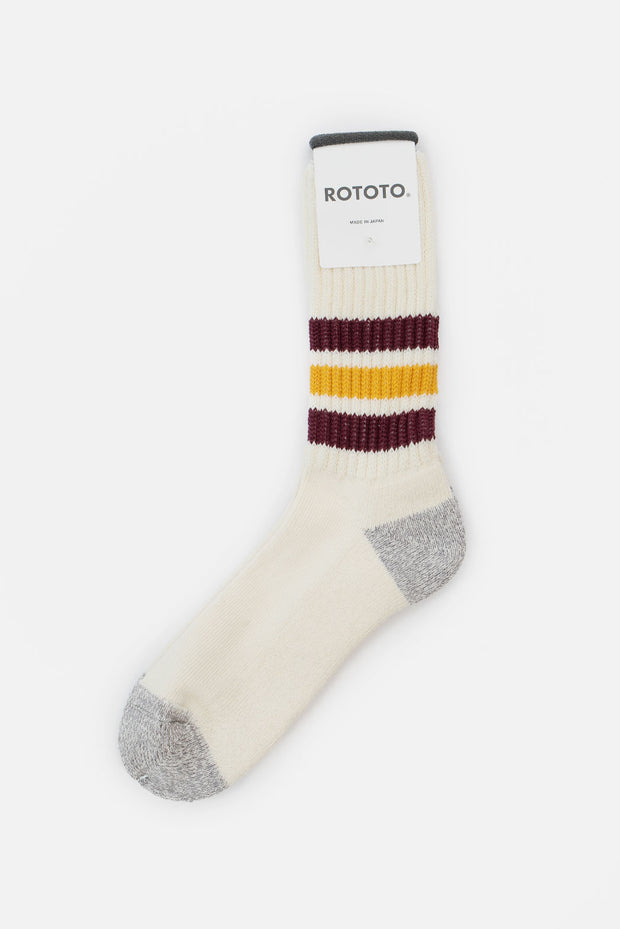Rototo Coarse Ribbed Old School Socks Bordeaux Yellow