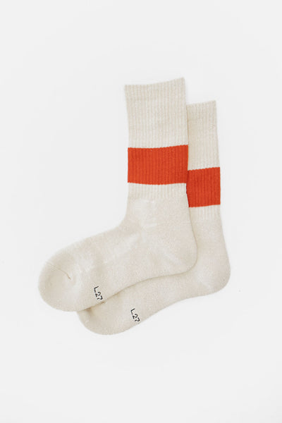 Rototo Classic Crew Socks Ivory Dark Orange