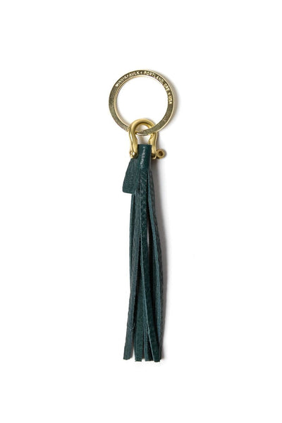 Wood&Faulk Fringe Key Fob Emerald
