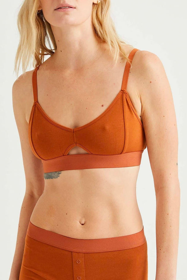 Richer Poorer Cut Out Bralette Tobacco Brown