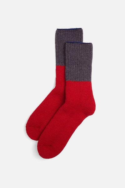 RoToTo Wool Crew Socks Red Indigo
